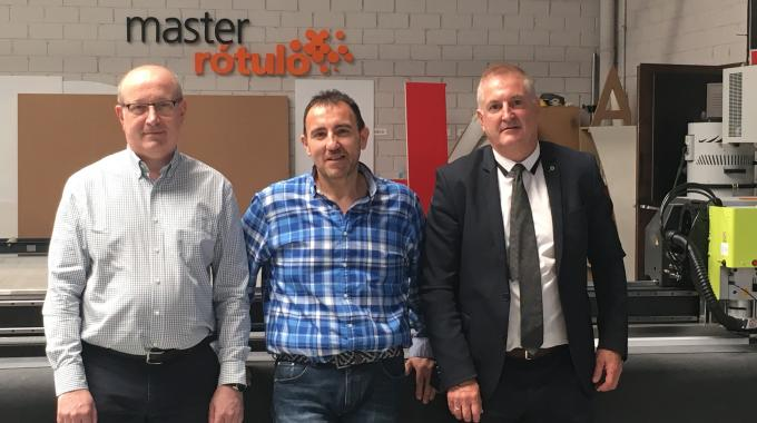 Pictured (from left): David Petit, Esko application sales manager; Vicente Adan, commercial and production manager at Master Rótulol and  Juan Antonio Benedé, Esko sales account manager