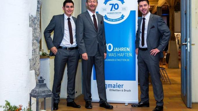 Hagmaier Etiketten & Druck is a family business with Thomas Hagmaier (center), the current Finat president, leading the company since 2012, alongside his two sons, Max (left) and Rodolfo (right)