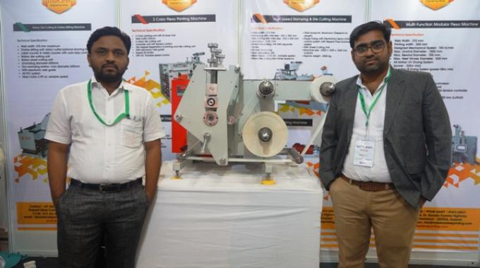Moksha Engineering owners, Tejas Patel (left) and Bhupendra Patel (right), with the new table top rotary die-cutting machine