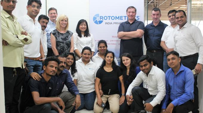 The new RotoMetrics India team with top management of the company at the office inauguration in Mumbai
