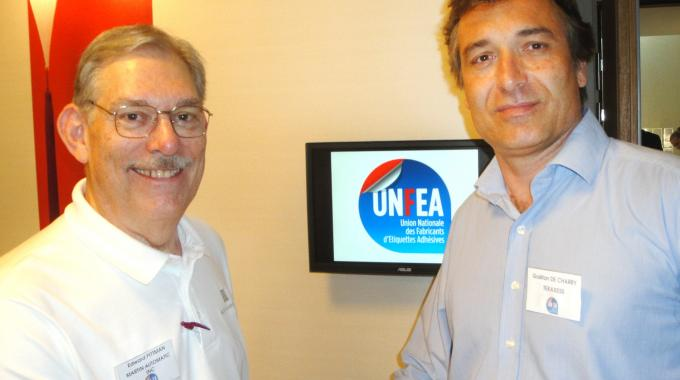 Ed Pittman (left), Martin Automatic sales manager for Southern Europe, with Gaetan de Charry (right) of Tekaxess