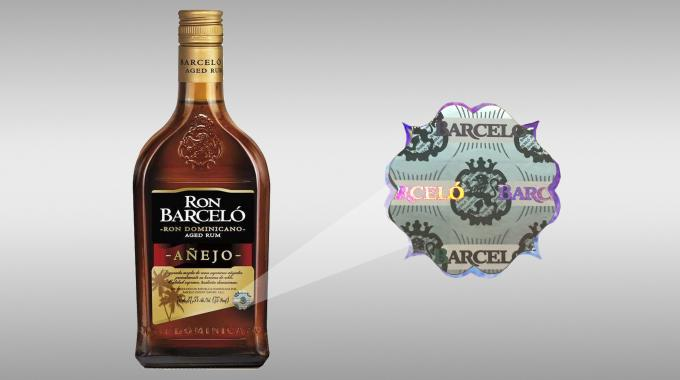 Lecta Adestor Gloss 80g selected to label the Ron Barceló Dominican rum image with a hologram