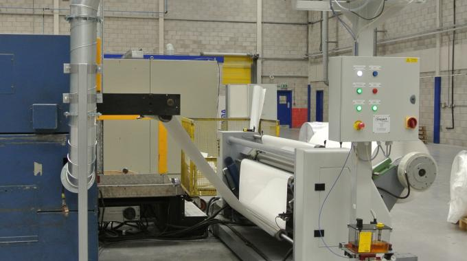 The Impact Air Systems system, which allows the removal of sticky matrix waste and eliminates the need to rewind waste on-press, can handle eight slitting machines
