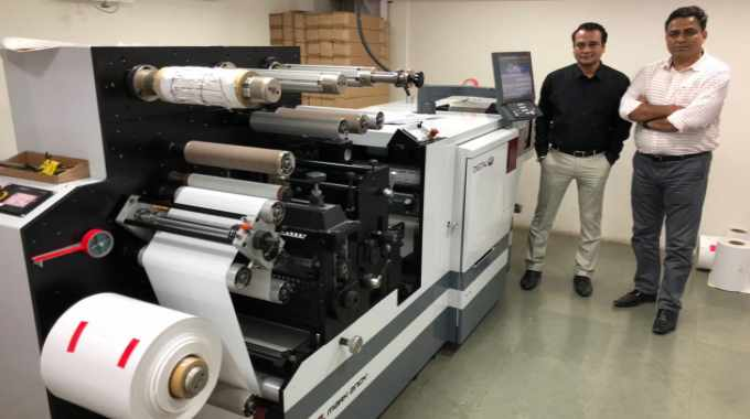 Prasanna Sahu of Barcom Industries with Gourav Roy of FIG with Mark Andy Digital One label press installed in Mumbai