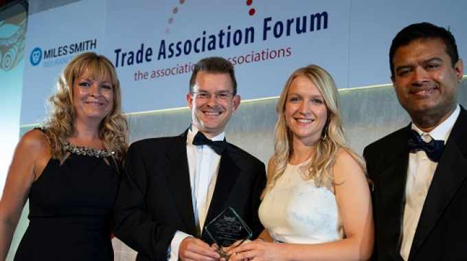 BCF CEO Tom Bowtell (second from left) and Tania Morrill (second from right), head of marketing at BCF, accept the 'Trade Association of the Year 2018' award