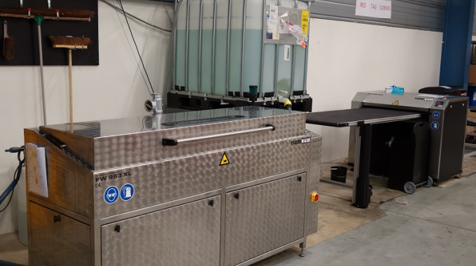 Two of the new Flexo Wash cleaning units installed at the Desmedt plant in Belgium