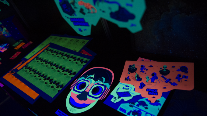 HP Indigo's stand at Labelexpo Southeast Asia hosted a dark room for flourescent labels