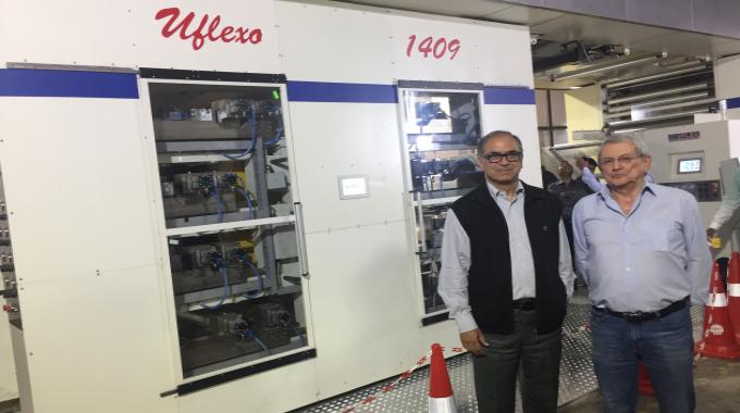 Amit Tandon and Gianfranco Nespoli in front of Uflexo at the launch
