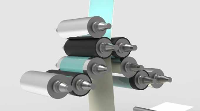 The coating unit allows simultaneously siliconizing of both sides of a web with solvent-free silicones