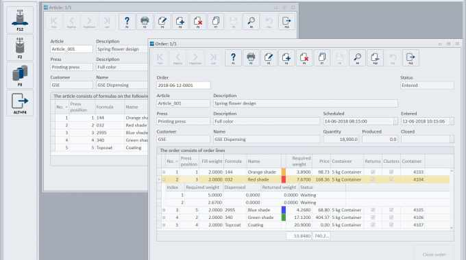 The new management software module, GSE Article management, features two control elements to enable the operator to achieve repeatable quality and accurate cost estimates when printing a design, or 'article