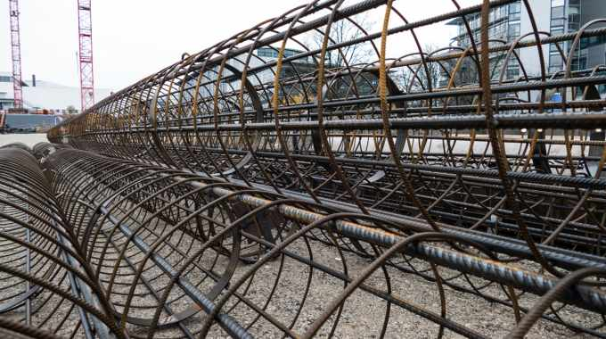 Reinforcement cages for the concrete support pillars used in constructing the building