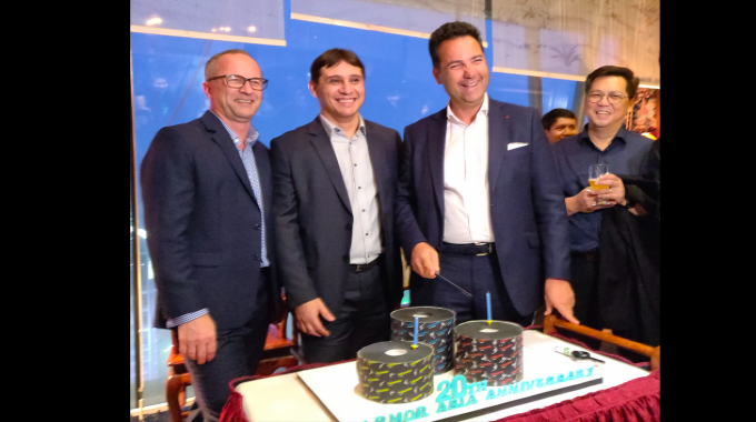 L to R: Mark Day, Wesley Alves and Hubert De Boisredon celebrating two successful decades of Armor Asia with employees and customers