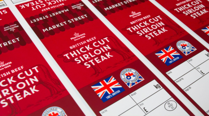 Flexo print on film, surface print – narrow (gold) for Morrison Thick Cut Sirloin Steak by Reflex Newcastle
