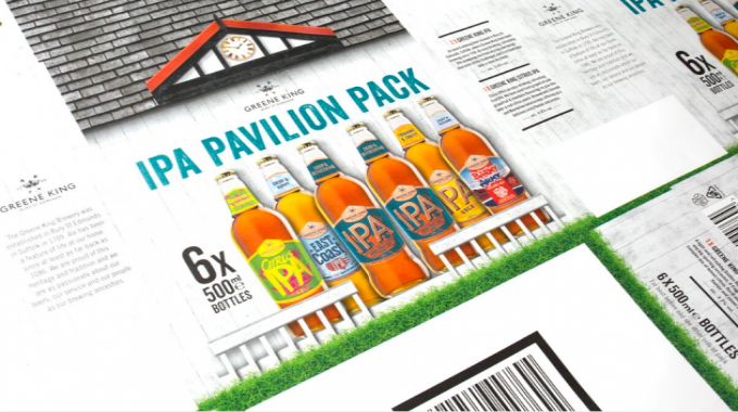 Flexo print on paper – medium (gold) for IPA Pavilion Pack by DS Smith Belper