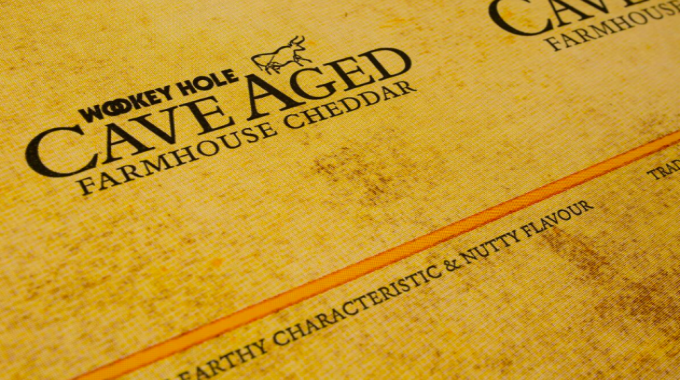 Use of flexo for brands/retailers (gold) for Wookey Hole Cave Aged Cheese by Atlas Packaging