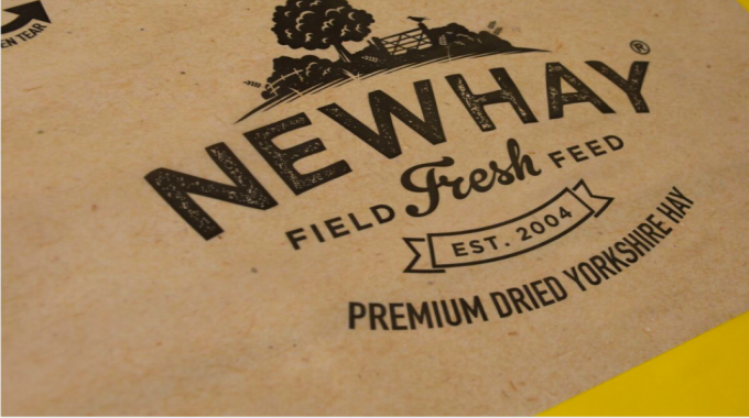 Flexo print on film, surface print – medium (gold) for Newby Feed Timothy Feeding Hay by Dandelion & Nettle – Roberts Mart & Co